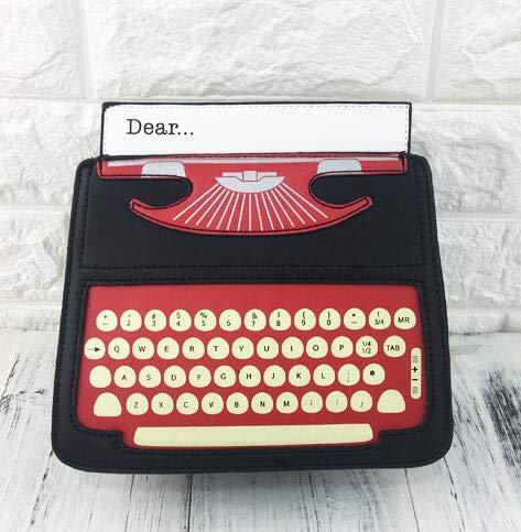 Pnizun - Black & Red Cartoon Schreibmaschinen-Entwurf PU-Leder-Frauen beiläufiger Schulter-Beutel Totem Femal Umhängetasche Mini Messenger Bag Purse Flap [Schwarz ]