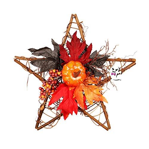 PowerBH Halloween Holz Fünf-Sterne-Wandbehang Kunstblume Dekoration Kranz Ghost Festival Schwarzer Kürbis Handgemachte Dekorationen