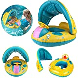 Baby Pool Float Infant Schwimmen Ring w/abnehmbarer Baldachin Schatten & Safe Griff, aufblasbare Spring schwimmt Schwimmring Sicherheit Sitz Boot für Kinder Kleinkind Activity Center & Wasser Training