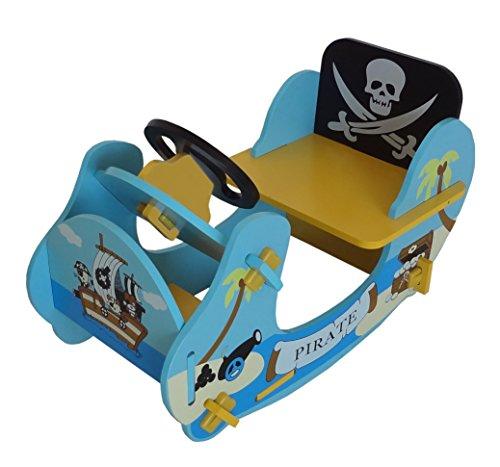 Bebe Style-Balancín de madera pirata de los niños paseo en barco, 69x 34x 44cm