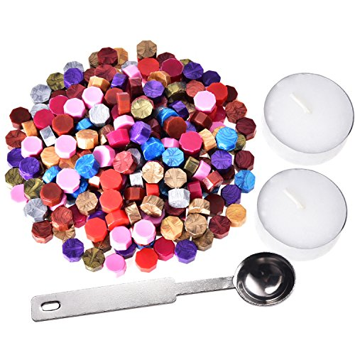 230 Stücke Siegellack Perlen Stempel Dichtung Stick Zubehör mit 2 Stücke Kerzen und 1 Stück Schmelzlöffel für Stempel Versiegelung (12 Farben) -