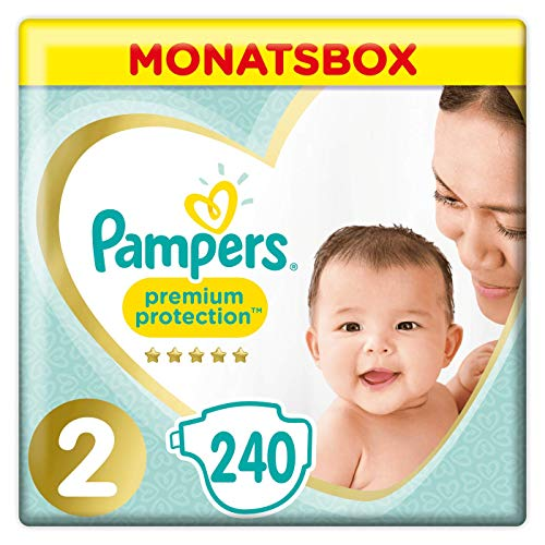 Pampers Premium Protection Windeln, Gr.4, 9-14kg, Monatsbox, 1er Pack (1 x 168 Stück) -