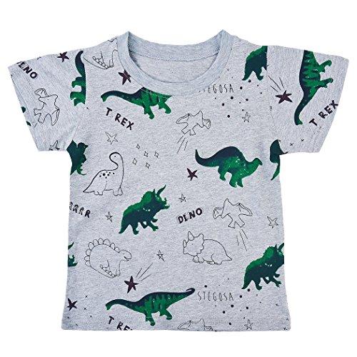 Tarkis Jungen T-Shirt Baumwolle Dinosaurier Kinder Kurzarm Oberteil Pullover 98 104 110 116 122 128, 02 Grau (Dinosaurier), 98 (Herstellergröße: 2T)