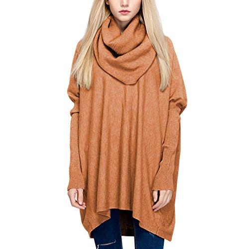 WSLCN Pulls Tricots Épais Femme Collier de Tas Pull-over Chandail de Col Haut Sweat-shirt Col Roulé Lâche Tops Uni Café