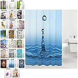 Duschvorhang, viele schöne Duschvorhänge zur Auswahl, hochwertige Qualität, inkl. 12 Ringe, wasserdicht, Anti-Schimmel-Effekt (Tropfen, 180 x 180 cm)