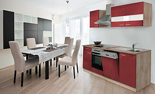 respekta Küche Küchenzeile Einbauküche 220 cm Eiche Sonoma Sägerau Rot CERAN KB220ESRC