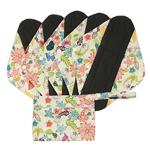 Hisprout wiederverwendbare Damenbinden aus Bambuskohle, Cloth Mama Menstruationsbinden, waschbare Slipeinlagen,Butterfly Flowers (WSDM04) (Mama Butterfly)