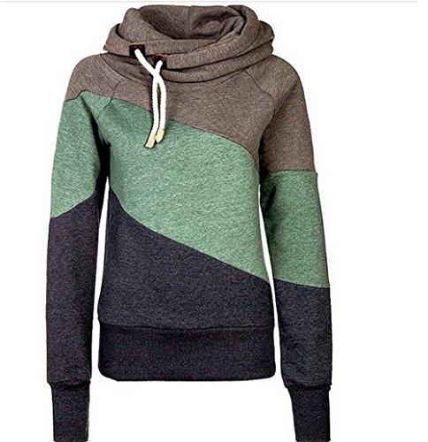 Femmes Automne manches longues Drawstring Casual Hoodie Sweatshirt Sportswear Sweater Kaki
