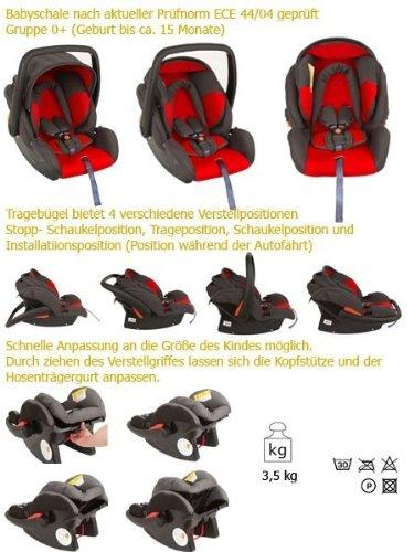 United Kids 101258 Babyschale Protect, Gruppe 0, 0-13 kg, rot / grau