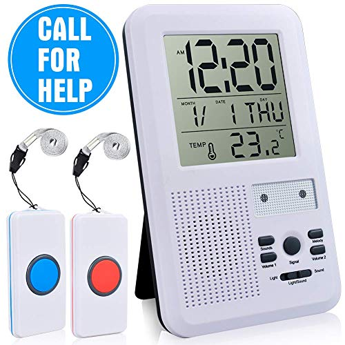 ECVISION Wireless Remote Nurse Alert System Patient Call Button & Caregiver Personal Pager 500+ Feet Operating Range (LCD Mobiler Alarm) Personal Pager