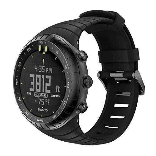 Gosuper Soft-TPU Watch Armband Stainless Steel Clasp Atmungsaktiv Ersatz Strap für Suunto Core Outdoor Sports Watch