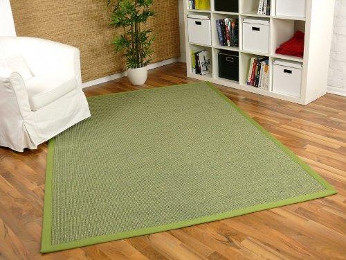 Sisal Astra Natur Teppich Grün Bordüre Grün in 16 Größen