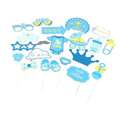 20 Niedlichen Baby Themen Photo Booth Requisiten Baby Shower Boy Girl Party Supplies - Blau ()