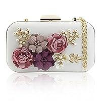 J&F Women Clutches Purses Bags Flower Leather Envelope Pearl Wallet Evening Handbag