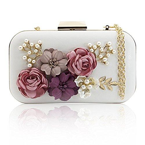 J&F Damen Tasche Handtasche Party Clutch Bag Hochzeit Abend Kettentasche Umhängetaschen (Perlen Hand Tasche)
