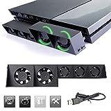 PS4 Turbo Lüfter Ventilator Kühler, Cooling Fan Externe USB Kühlgebläse 5 Turbo-Lüfter, 3 Arbeitsmodus Kühler schwarz für Playstation 4