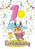 12 Einladungskarten zum 1. Kindergeburtstag für Mädchen / bunte Einladungen zum Geburtstag für Mädchen