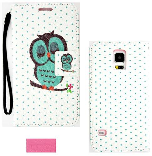 Wireless Fones TM Cute Eule auf Polka Dots Wallet Flip Hard Case Cover für Samsung Galaxy S5(2014Version) Dots Hard Case Cover