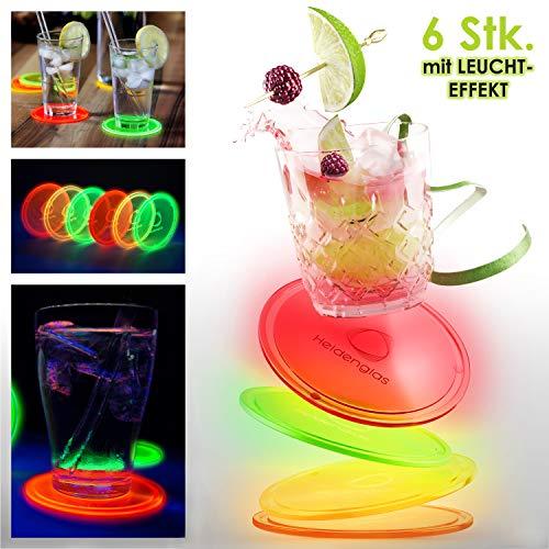 Heldenglas Untersetzer aus LEUCHTENDEM Acrylglas 6er Set für Getränke, Glasuntersetzer rund, Partygeschenk für Becher & Gläser, Untersetzer Gläser, Tischuntersetzer, Filz Coaster Alternative