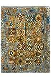 CarpetFine: Kelim Afghan Teppich 179x241 Blau,Grau - Geometrisch