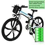 Bunao Elektrofahrräder 36V 12.8A Lithium Batterie Faltrad MTB Mountainbike E-Bike 17 * 26 Zoll Shimano 21 Speed Fahrrad Intelligence Elektrofahrrad (Weiß)