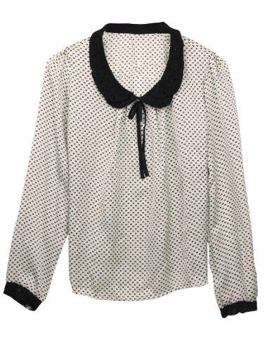 Allegra K Damen Langarm Bubikragen Punkte Blusen Shirt Top Weißgrau