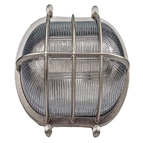 Lichtoval Runde Schiffslampe Schiffsleuchten Gitter Lampe Aus Massivem Messing Wasserdichte Licht Lampe Nautische Marine Wandlampe Industrielicht Nickel Matte Silber -