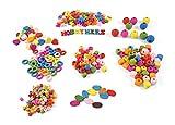 ❤️HobbyHerz 395 Holzperlen für Kinder zum Fädeln ✪ 8 Verschiedene Formen und Größen zum Basteln und Spielen ✪ mit 100 großen Buchstaben