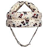 Kleinkind Baby Schutzhelm, Verstellbarer Kopfschutz Hut mit Klettverschluss Antikollisions Softkappe zum Kraulen, Laufen und Spielen - für 6-36 Monate (Beige kleiner Bär)