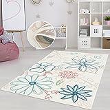 Teppich Kinderzimmer Mädchen Jungen | Fröhliche Schmetterling Blumen Sterne Motive für Das Jugendzimmer | Öko Tex 100 Schadstoffgeprüft, allergikergeignet (Blumen - 120 x 170 cm)
