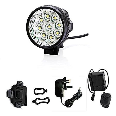 9 x LED Cree XM-L T6 15000lumen VTT Mountain Bike vélo vélo Head Light lampe frontale + Chargeur + Sac de rangement