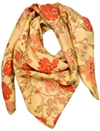 Woca Design Floral Motif Hand Printed Pure Silk And Self Designed Super Soft & Stylish Scarf/Scarves, Shawl And...