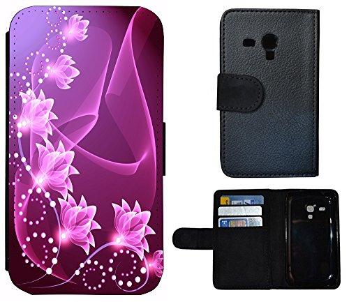 Schutz Hülle Flip Cover Handy Tasche Etui Case für (Apple iPhone 4 / 4s, 1053 Biene Cartoon Gelb Braun) 1057 Blume Abstract Lila