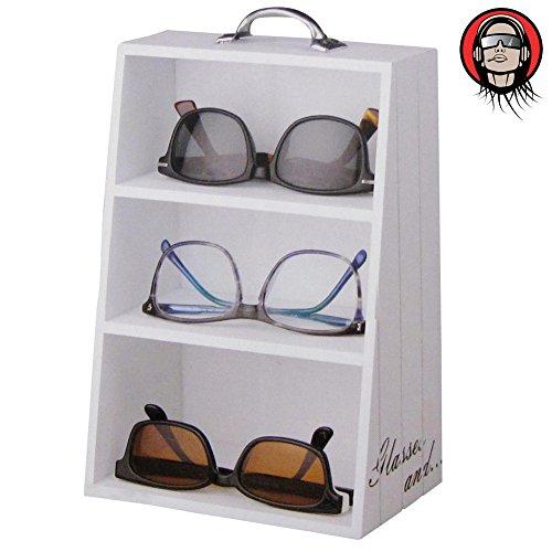 Armadietto Organizer in legno 3 mensole per Occhiali da Vista Sole con Maniglia