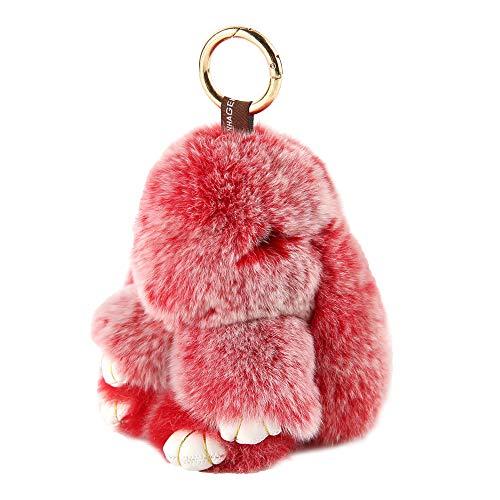 Yiseven portachiavi giocattolo peluche coniglietto-grande peluche morbido soffice - coniglietti pasquali carini soffici e morbidi bambolina animale regalo per ragazza charm borsetta e auto, rosso