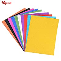 10pcs/Set Glitter Sheets A4 Self Adhesive Paper Glitter Sheet Random Colour Glitter Cardstock for DIY Art Craft Christmas Halloween Festival Activities