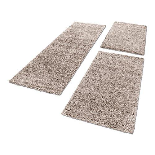 Shaggy Hochflor Teppich Carpet 3TLG Bettumrandung Läufer Set Schlafzimmer Flur, Farbe:Beige, Bettset:2x60x110+1x80x250