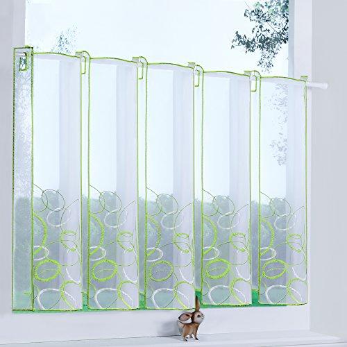 Transparente Scheibengardine aus Voile luftiger Voile mit gesticktem Muster Raffrollo, Grün, H/B: 45/128 cm