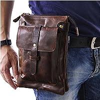 Le'aokuu Mens Genuine Leather Small Messenger Shoulder Bag Fanny Waist Belt Pack Pouch (Coffee)
