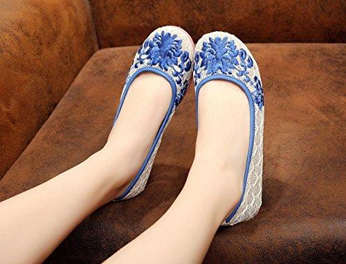 Weibliche Leinen Ethnischer Gestickte Blue Bequem Mode Stil Schuhe Sehnensohle amp;hua n7UTEqxY6n