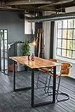 KAWOLA Bartisch mit Baumkante Akazie massiv Fuß schwarz 160x85x113cm (L/B/H)