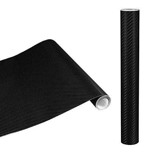 Yimidon Pellicola Adesiva per Auto, 4D Pellicola Carbonio Rivestimento Adesivo Nero Wrapping Auto e Moto, Impermeabile e Anti Bolle - 1.52m x 0.3m