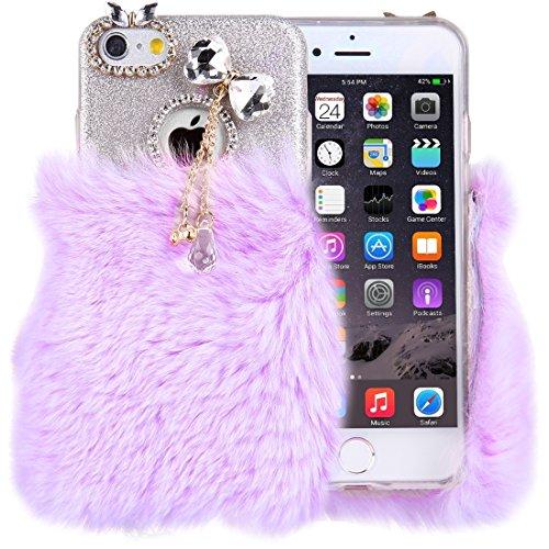 Für iPhone 6 & 6s echtes Kaninchen Haar Diamant verkrustet Blitz Pulver weichen TPU Schutzhülle by diebelleu ( SKU : Ip6g3118wr ) Ip6g3118p