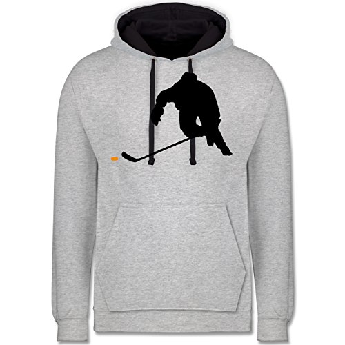 Eishockey - Eishockey Sprint - M - Grau meliert/Navy Blau - JH003 - Kontrast Hoodie -