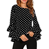 Reaso Retro Tunique Col Rond Femme Vintage Longues Manche à cloche Chemise Loose T-shirt Polka Dot Tee Shirt Ladies Casual Blouse Chic Tops (XL, Noir)