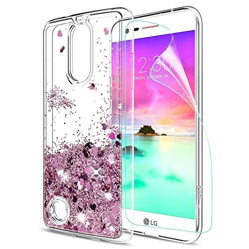 LeYi Funda LG K10 2017 Silicona Purpurina Carcasa con HD Protectores de Pantalla,Transparente Cristal Bumper Telefono Gel TPU Fundas Case Cover para Movil LG K10 2017 ZX Oro Rosa