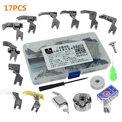 17pcs machine à coudre industrielle kit Pieds-de-biche multifonctionnel pour Machine à coudre domistique Pied de pièces presseur pression pied accessoires et cas