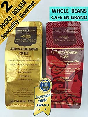 Mexico Real Cafe: Gourmet Mexican Coffee. Maya Chiapas Coffee & Pluma Mountain Oaxaca Coffee. 2 packs 454 gr. Superior Taste Award Winning Artisan Coffee. Specialty Coffee. 100% Gourmet Arabica Coffee. Whole Bean Coffee. Single Origin Coffee. Strictly Hig