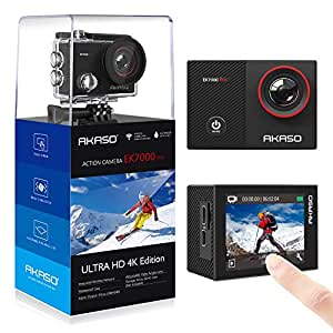 AKASO EK7000 Pro 4K Action Camera with Touch Screen EIS Adjustable View Angle 40m Waterproof Camera Remote Control Sports Camera with Helmet Accessories Kit