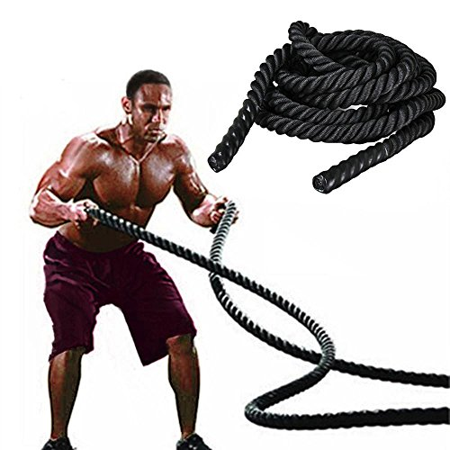 tinkertonk 38mmx9.2M Polyester Battle Rope Workout Cardio & Core Strength Training Fitness Undulation Rope Exercise